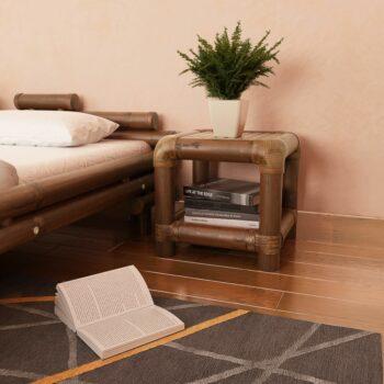 vidaXL Nachtkastje 40x40x40 cm bamboe donkerbruin