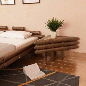 vidaXL Nachtkastjes 60x60x40 cm bamboe donkerbruin 2 st
