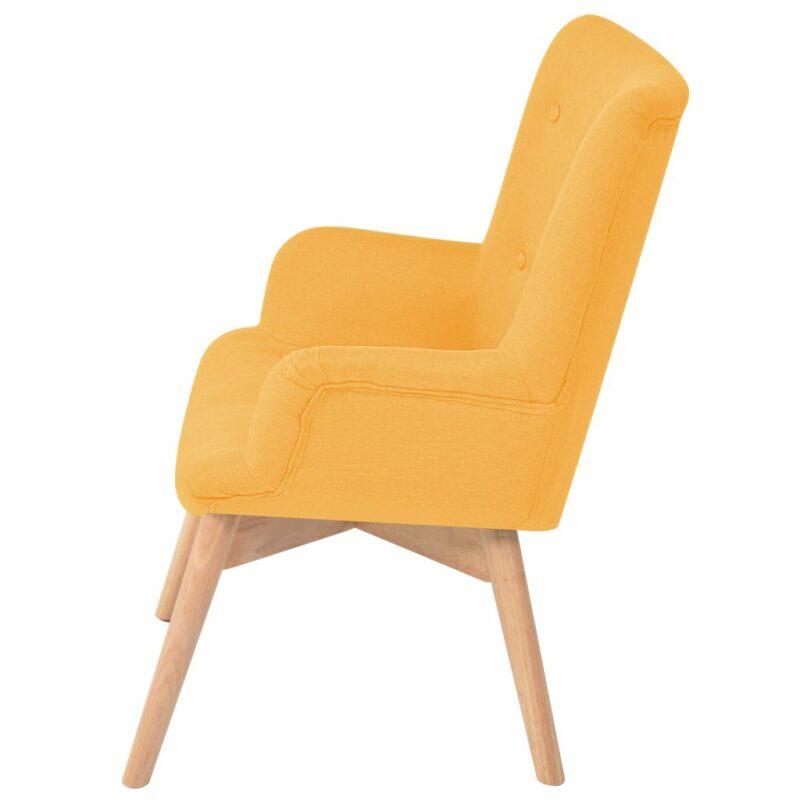 Fauteuil met voetenbankje stof geel