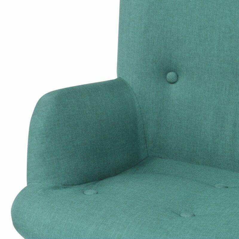 Fauteuil met voetenbankje stof groen