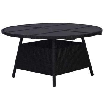 vidaXL Tuintafel 150×74 cm poly rattan zwart