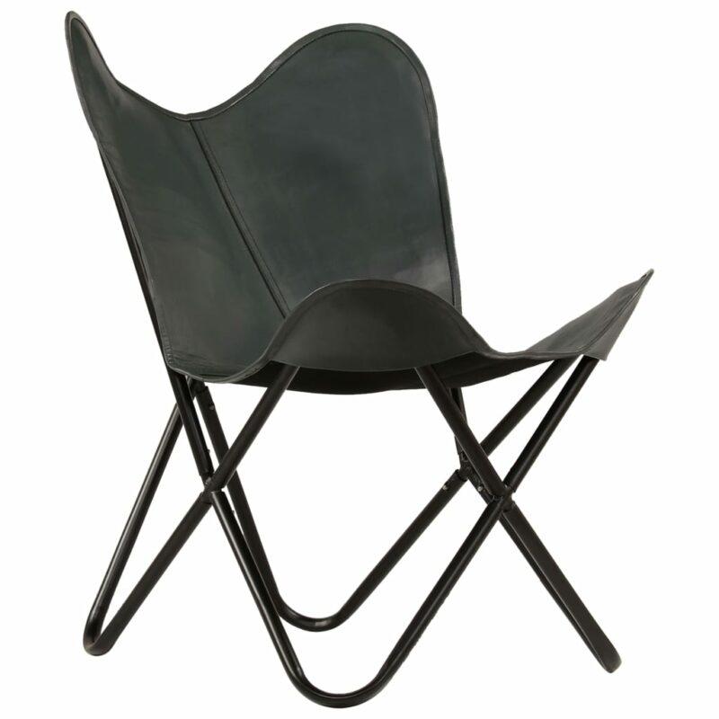 Vlinderstoel kindermaat echt leer grijs