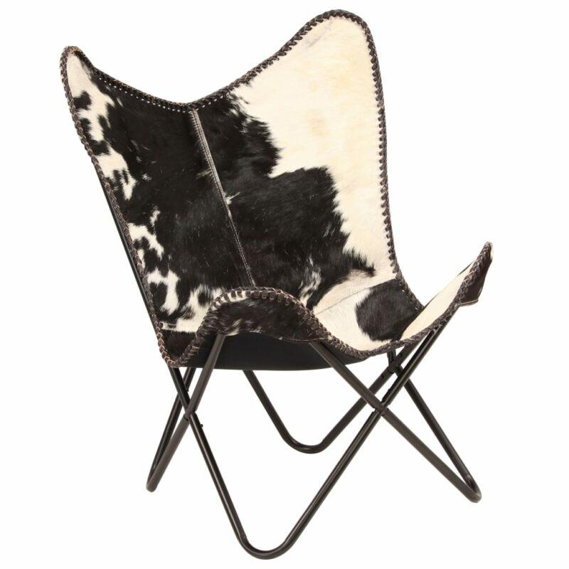 Vlinderstoel echt geitenleer zwart en wit
