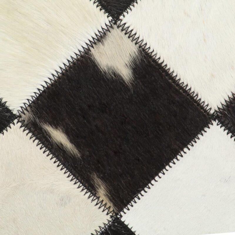 Stoel ruitpatroon echt leer zwart