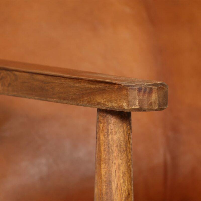 Fauteuil echt leer met acaciahout bruin