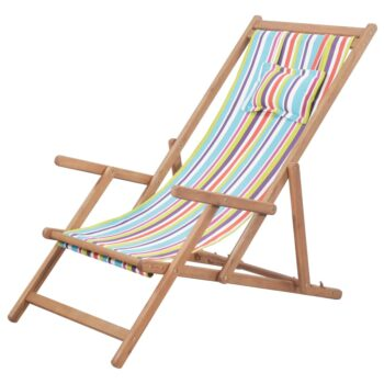 vidaXL Strandstoel inklapbaar stof en houten frame meerkleurig