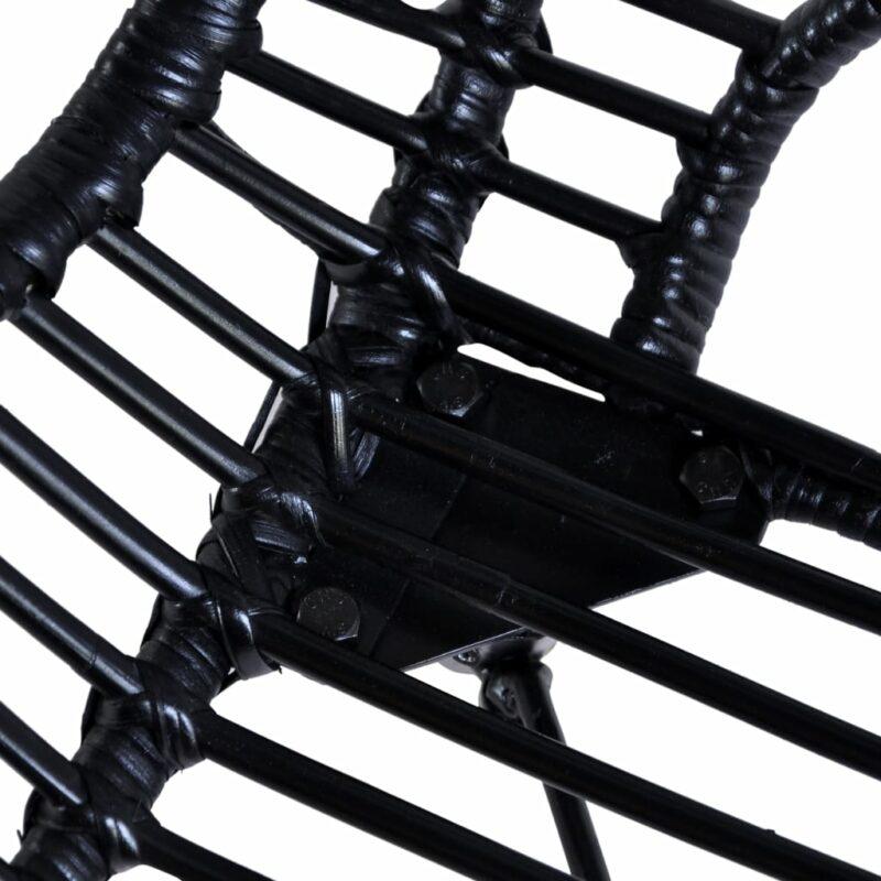 Eetkamerstoelen 2 st natuurlijk rattan zwart