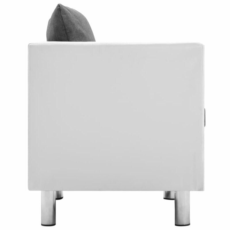 Fauteuil kunstleer wit en lichtgrijs