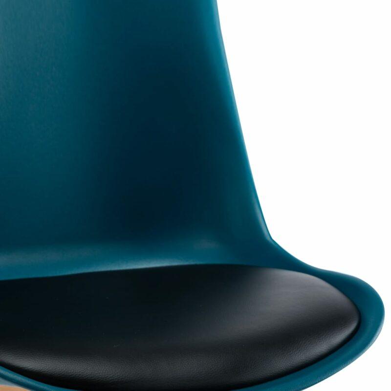 Eetkamerstoelen 4 st kunstleer turquoise en zwart