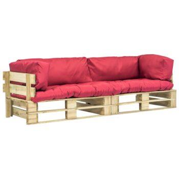 vidaXL 2-delige Loungeset pallet met rode kussens grenenhout