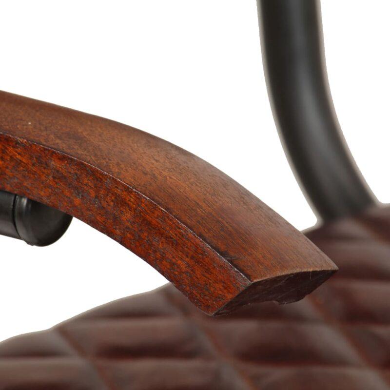 Eetkamerstoelen 4 st met armleuningen echt leer bruin