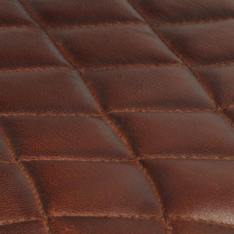 Eetkamerstoelen 6 st met armleuningen echt leer bruin