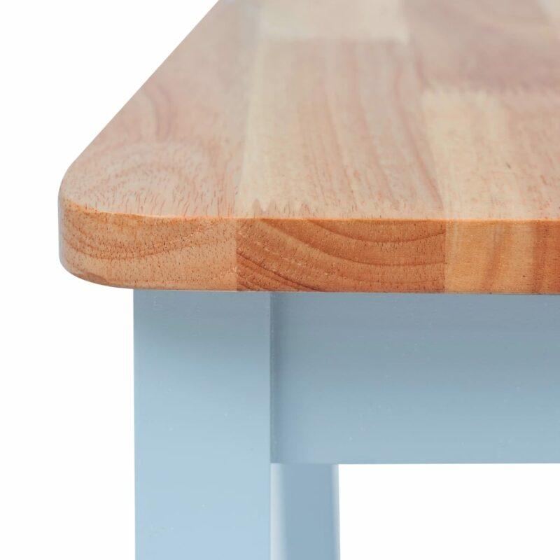 Eetkamerstoelen 4 st massief rubberwood grijs lichthoutkleurig