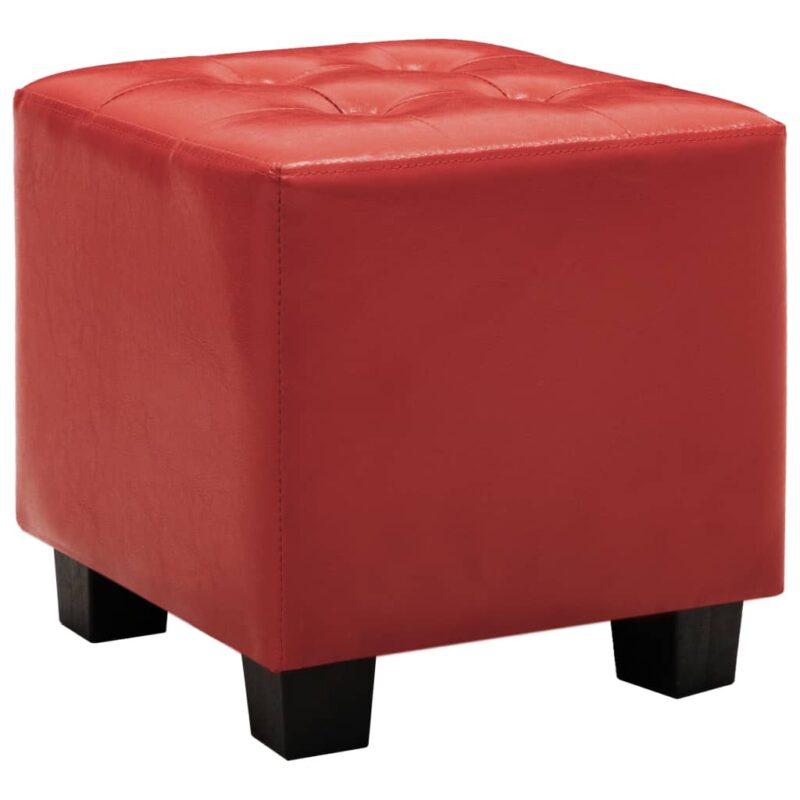 Kuipstoel met voetenbankje kunstleer rood
