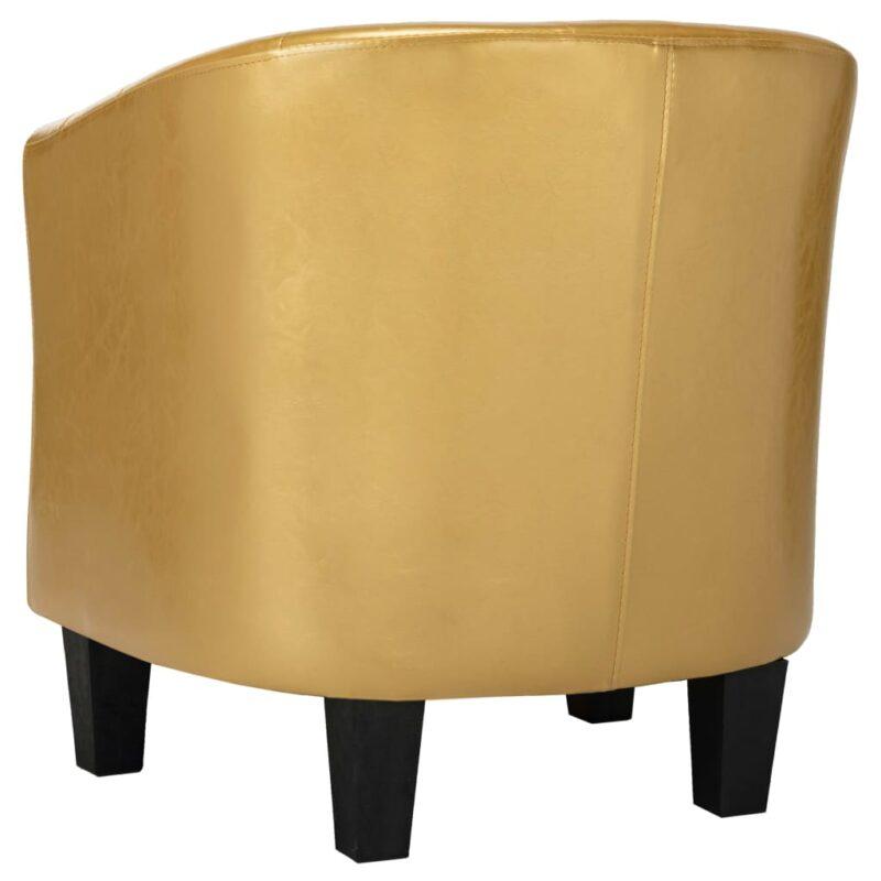 Kuipstoel kunstleer glanzend goudkleurig