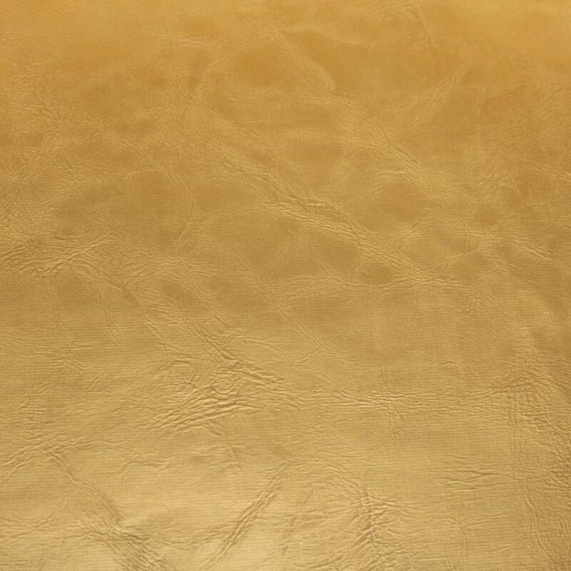 Kuipstoel met voetenbankje kunstleer glanzend goudkleurig
