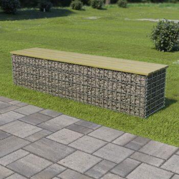 vidaXL Gabion bank 170 cm gegalvaniseerd staal en grenenhout