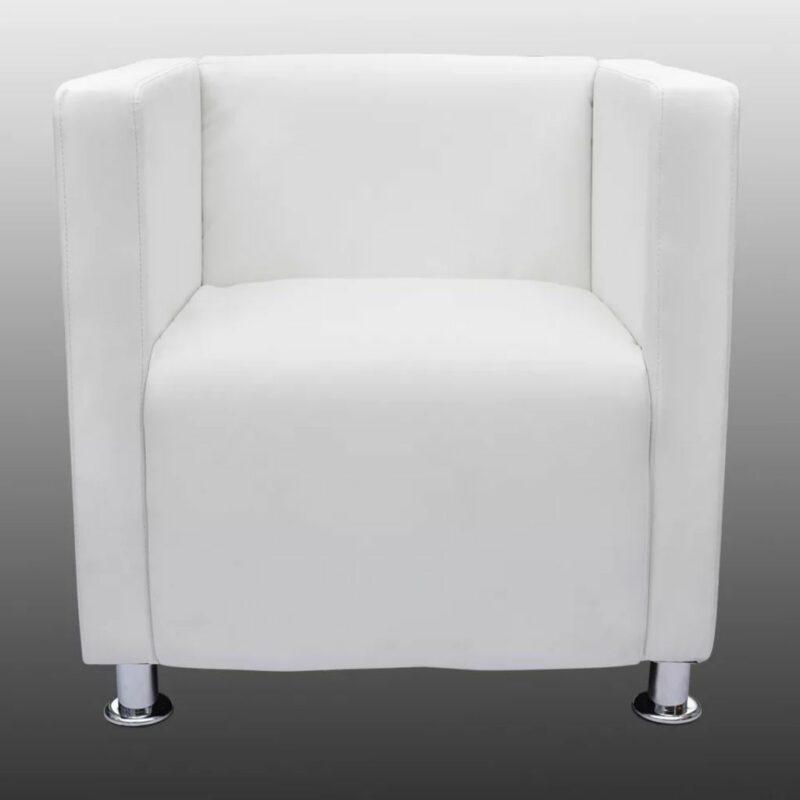 Fauteuil kubus kunstleer wit