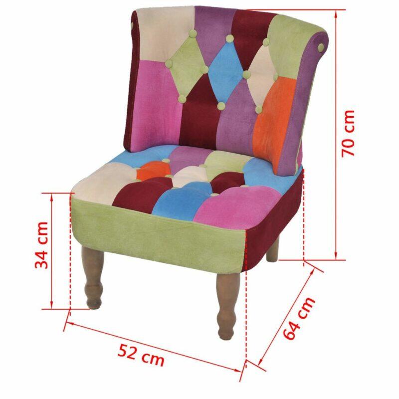 Franse stoelen 2 st met patchwork ontwerp stof
