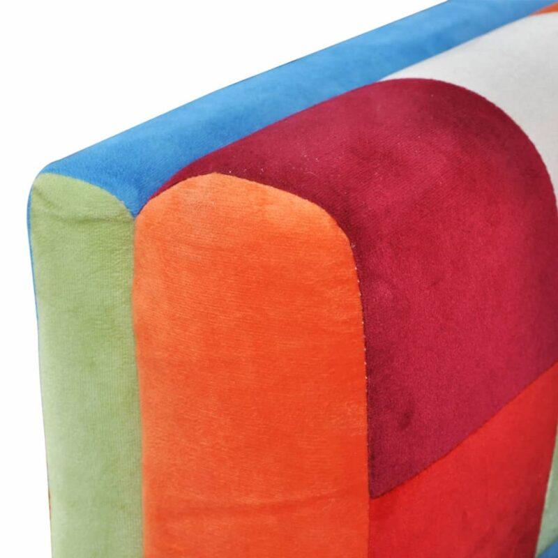 Fauteuil met patchwork ontwerp en verchroomde poten kubus stof