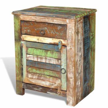vidaXL Bijzettafel met 1 lade en 1 deurtje gerecycled hout