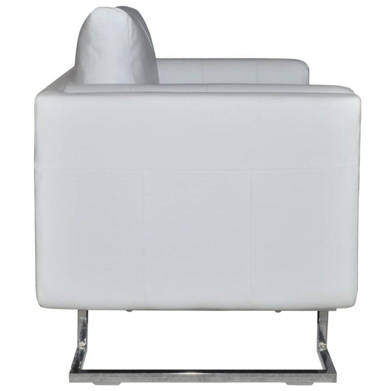 Fauteuil met verchroomde poten kubus kunstleer wit