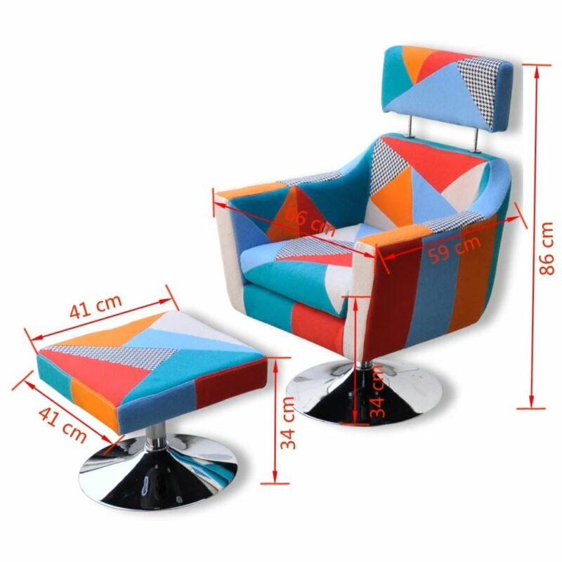 Televisiefauteuil met patchwork stof meerkleurig