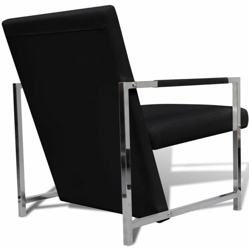 Fauteuils 2 st met chroom frame kunstleer zwart