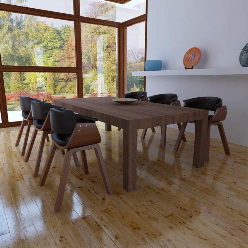 Eetkamerstoelen 6 st gebogen hout en kunstleer