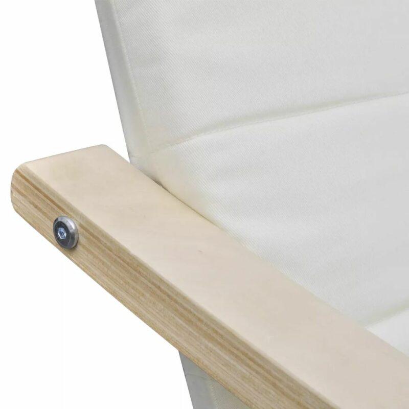 Fauteuil met gebogen houten frame stof cr?me