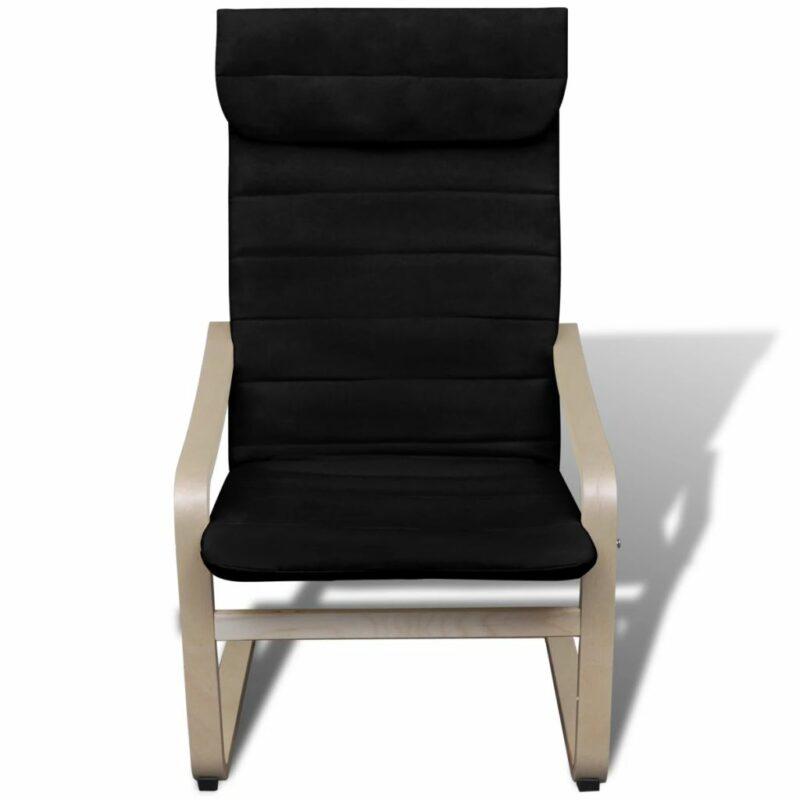 Fauteuil met gebogen houten frame stof zwart