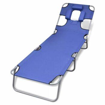 vidaXL Ligbed inklapbaar met hoofdkussen gepoedercoat staal blauw