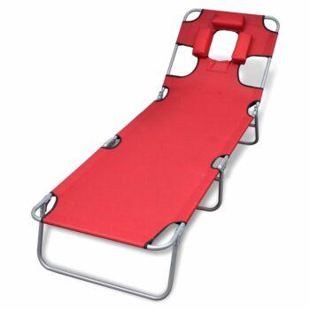 vidaXL Ligbed inklapbaar met hoofdkussen gepoedercoat staal rood