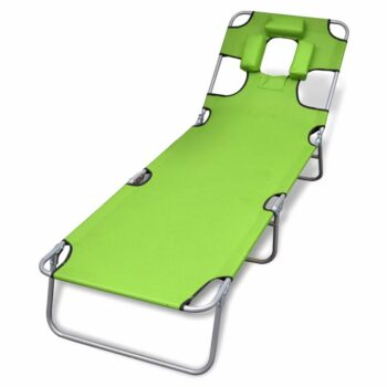 vidaXL Ligbed inklapbaar met hoofdkussen gepoedercoat staal groen