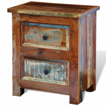 vidaXL Nachtkastje met 2 lades massief gerecycled hout
