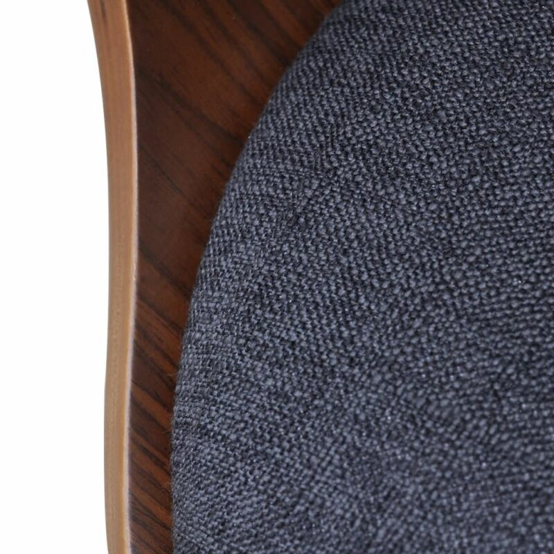 Eetkamerstoelen 2 st gebogen hout en stof donkergrijs