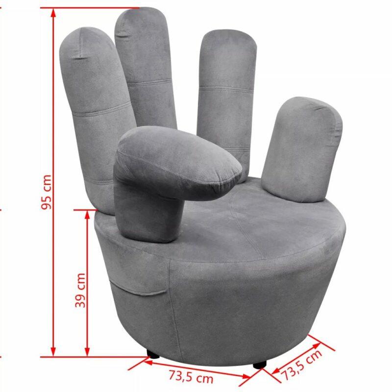 Stoel handvormig fluweel grijs
