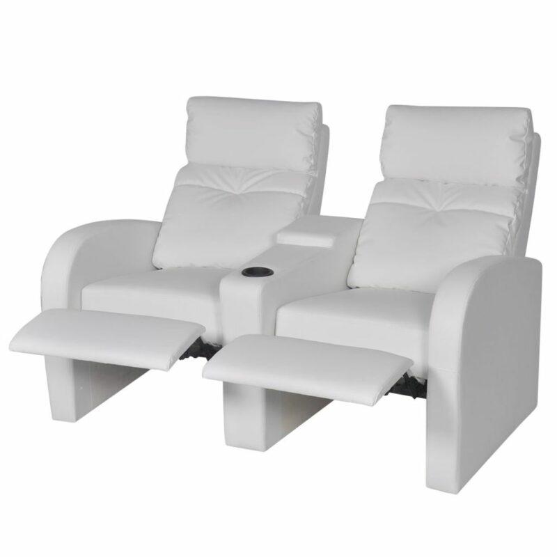 Dubbele relaxfauteuil met middenleuning kunstleer wit