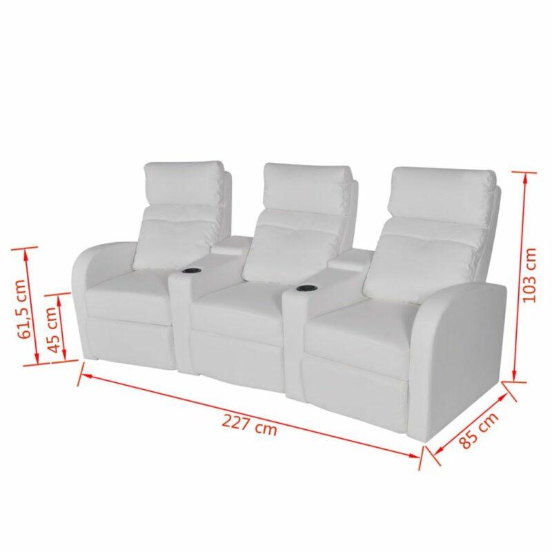 Driedubbele relaxfauteuil met middenleuning kunstleer wit
