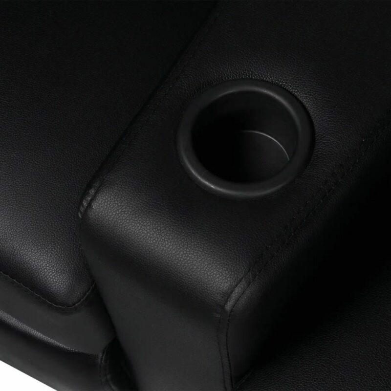 Driedubbele relaxfauteuil met middenleuning kunstleer zwart