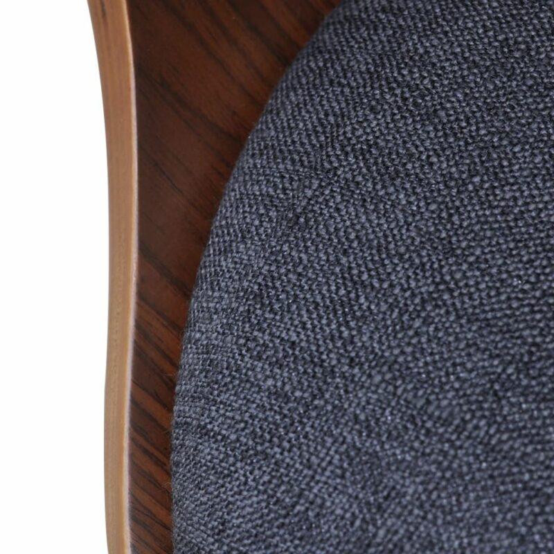 Eetkamerstoelen 6 st gebogen hout en stof donkergrijs