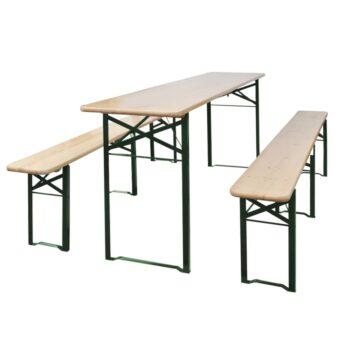 vidaXL Biertafel met 2 bankjes inklapbaar 220 cm vurenhout