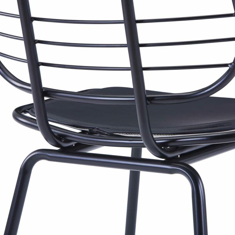 Eetkamerstoelen met kunstleren zittingen 4 st staal zwart
