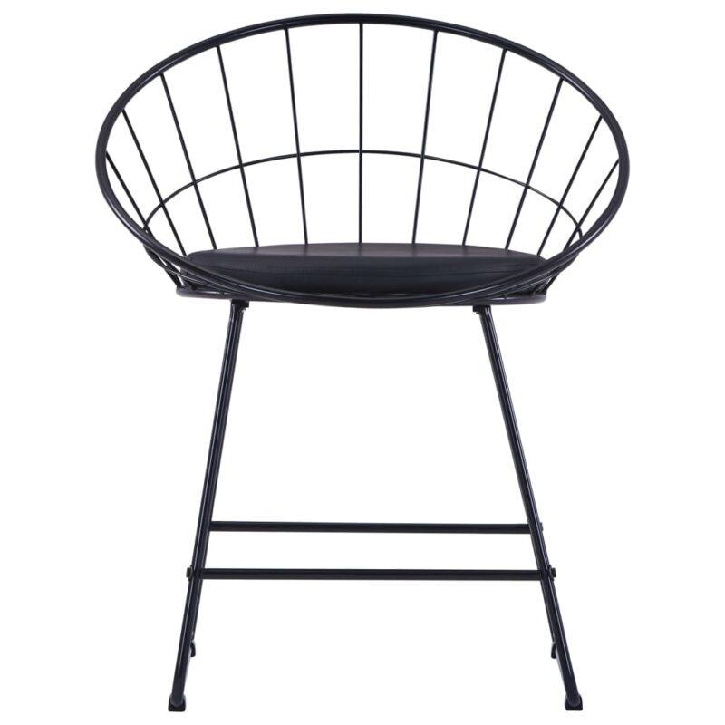 Eetkamerstoelen met kunstleren zittingen 2 st staal zwart