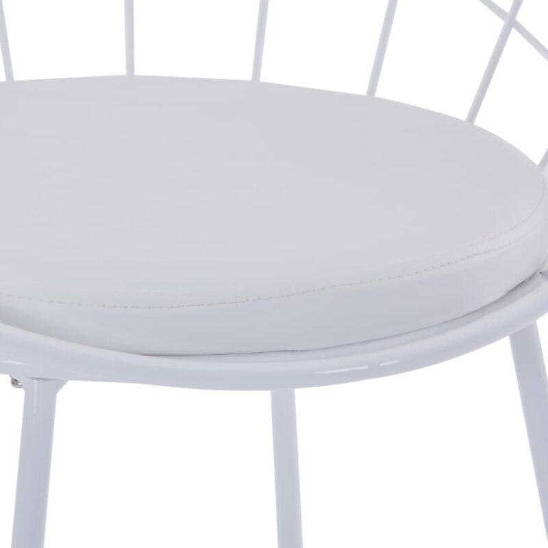 Eetkamerstoelen met kunstleren zittingen 2 st staal wit