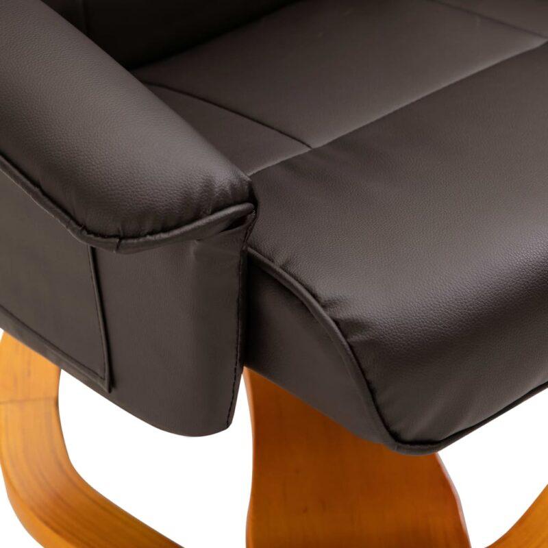 Televisiefauteuil met voetenbankje draaibaar kunstleer bruin
