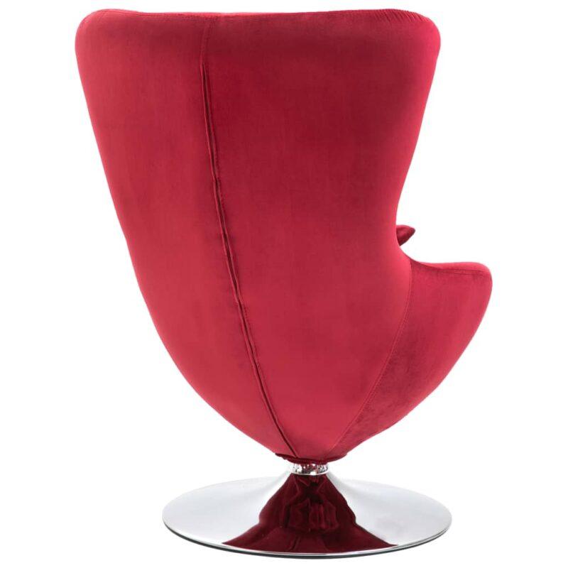 Draaistoel eivormig met kussen fluweel rood