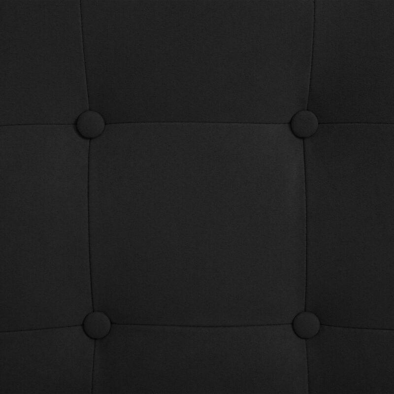 Leunstoel met voetenbankje su?de stof zwart