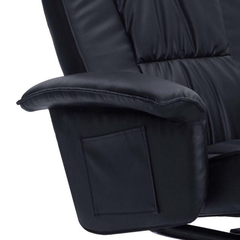 Leunstoel met voetenbankje kunstleer zwart