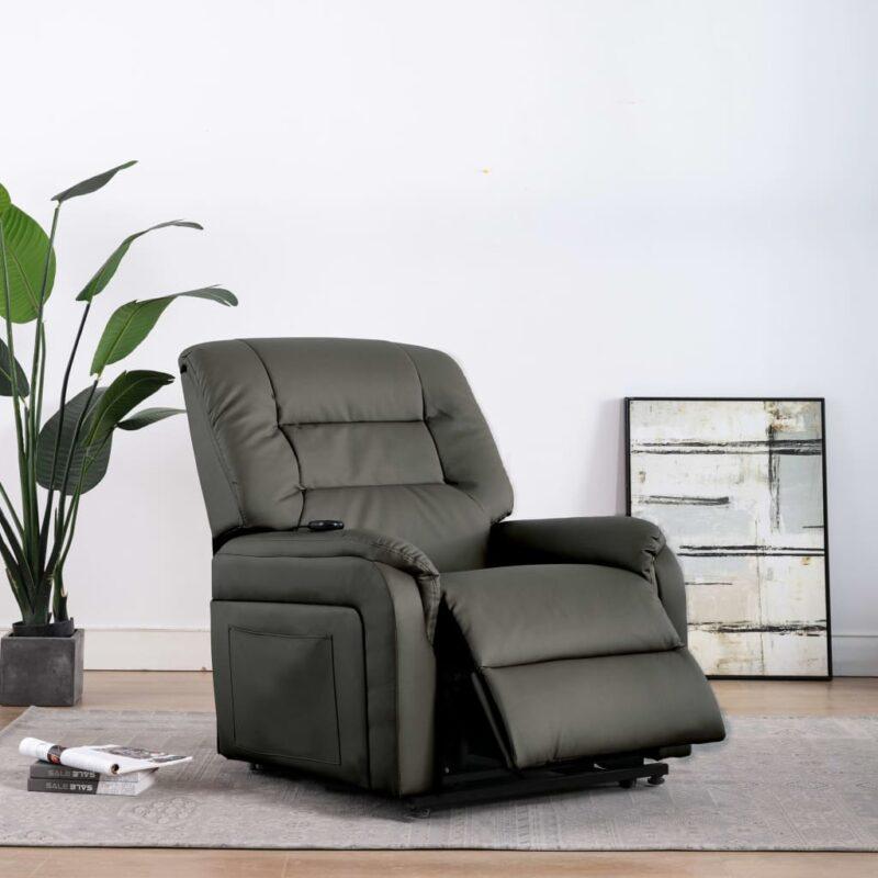 Fauteuil elektrisch sta-op-stoel kunstleer grijs